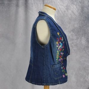 Baccini Jackets & Coats - Baccini Embroidered Floral Birds Denim Vest